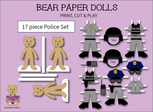 17 piece sweet beary patch bear paper dolls police full color set
