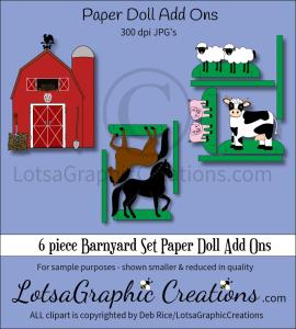 6 piece barnyard set paper doll add ons & backdrop