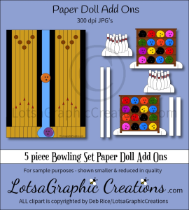 5 piece bowling set paper doll add ons & backdrop