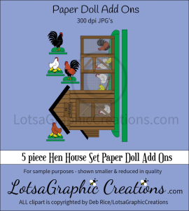 5 piece hen house set paper doll add ons & backdrop