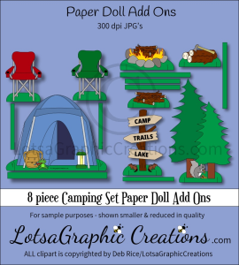 8 piece camping set paper doll add ons