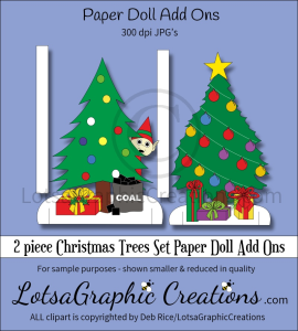 2 piece Christmas Trees Set Paper Doll Add Ons | Other Files | Arts and Crafts