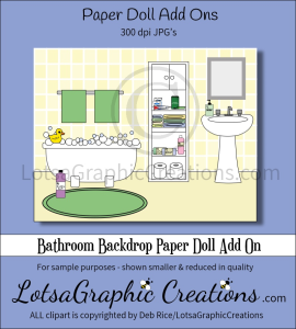 Bathroom Backdrop Paper Doll Add On | Other Files | Arts and Crafts