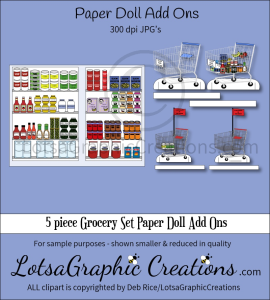5 piece grocery set paper doll add ons & backdrop