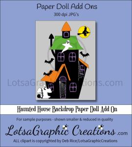 haunted house backdrop paper doll add on