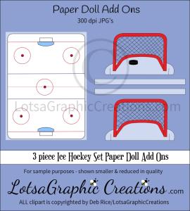 3 piece ice hockey set paper doll add ons & backdrop