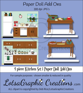4 piece kitchen set 1 paper doll add ons & backdrops