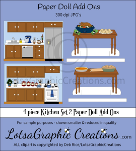 4 piece kitchen set 2 paper doll add ons & backdrops