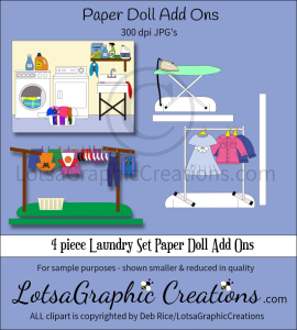 4 piece Laundry Set Paper Doll Add Ons & Backdrop | Other Files | Arts and Crafts