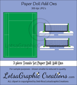 3 piece tennis set paper doll add ons & backdrop