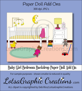 baby girl bedroom backdrop paper doll add on