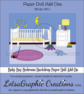baby boy bedroom backdrop paper doll add on