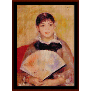 girl with fan cross stitch pattern by cross stitch collectibles