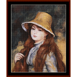 girl in golden hat cross stitch pattern by cross stitch collectibles