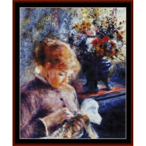 lady sewing cross stitch pattern by cross stitch collectibles