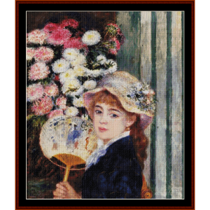 girl with a fan ii cross stitch pattern by cross stitch collectibles