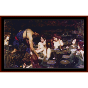 hylas and the nymphs - waterhouse cross stitch pattern by cross stitch collectibles
