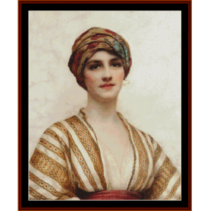 Young Woman in Tan – W.C. Wontner cross stitch pattern by Kathleen George at Cross Stitch Collectibles | Crafting | Cross-Stitch | Other