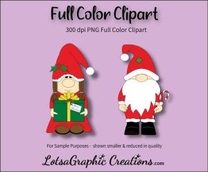 gnome christmas 2 piece clipart set