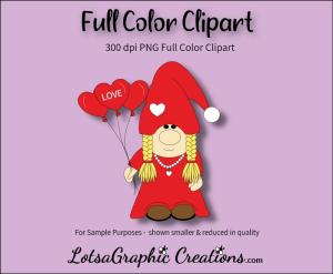 female valentine gnome clipart
