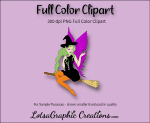 fairy witch on broom clipart