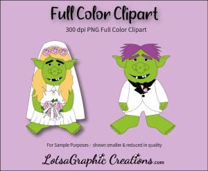 trolls wedding 2 piece clipart set