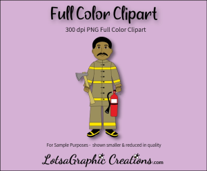 fireman african american full color clipart