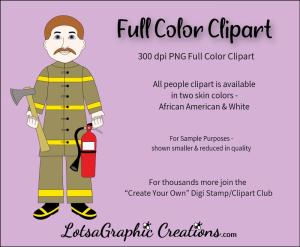 firemanwhitefullcolorclipart