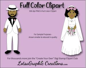 bride&groomafricanamerican2piececlipartset