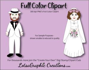 bride & groom white 2 piece clipart set