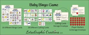 printable baby bingo game set
