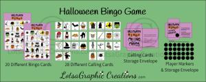 printable halloween bingo game set