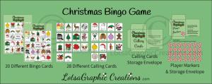 printable christmas bingo game set