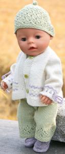 dollknittingpatterns  modell 0221d anna thea - sommerdress, jakke, lue, sko-(norsk)