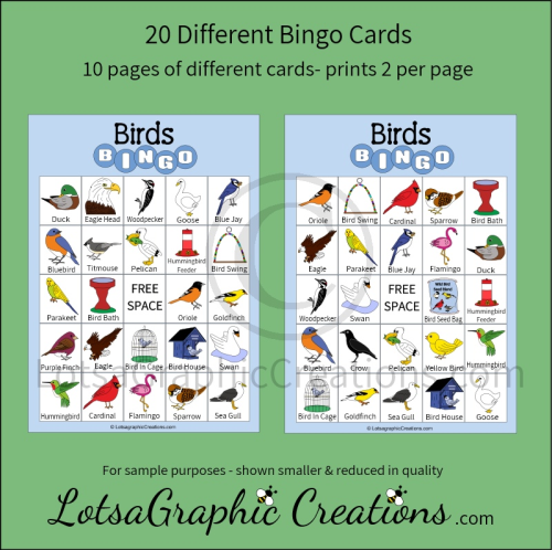 First Additional product image for - Printable Birds Bingo Game Set