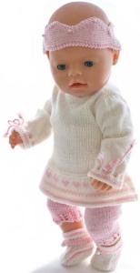 dollknittingpatterns modell 0022 kirsten - tunika, kronebånd, leggings og sko-(norsk)