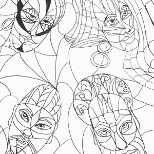 four faces in abstract (faces of a warrior coloring book page))
