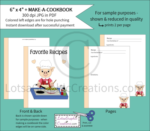 First Additional product image for - 6x4 + Printable Make-A-Cookbook Pig Cooking