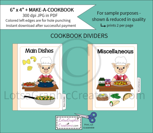Fourth Additional product image for - 6x4 + Printable Make-A-Cookbook Pig Cooking