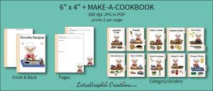 6x4 + printable make-a-cookbook pig cooking