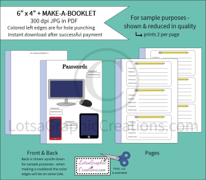 6x4 + printablemake-a-booklet passwords