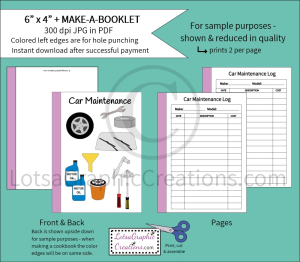 6x4 + PrintableMake-A-Booklet Car Maintenance | Other Files | Arts and Crafts