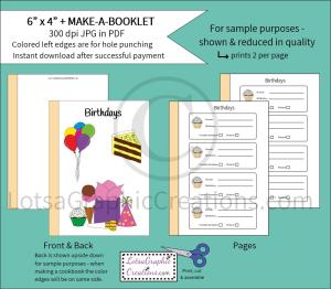 6x4 + printablemake-a-booklet birthdays