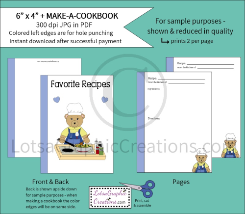First Additional product image for - 6x4 + Printable Make-A-Cookbook Bear Cooking