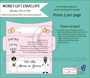 For The Bride & Groom African American Money Gift Envelope   Other Files   Arts and Crafts