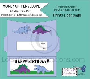 Happy Birthday Dinosaurs Money Gift Envelope   Other Files   Arts and Crafts