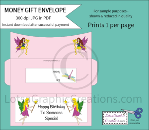 Happy Birthday Fairies Money Gift Envelope | Other Files | Arts and Crafts