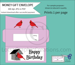 Happy Birthday Cardinals Money Gift Envelope | Other Files | Arts and Crafts