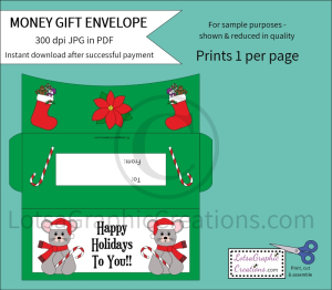 Happy Holidays To You Money Gift Envelope | Other Files | Arts and Crafts