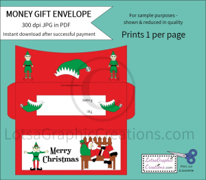 Merry Christmas Santa And Elves Money Gift Envelope   Other Files   Arts and Crafts